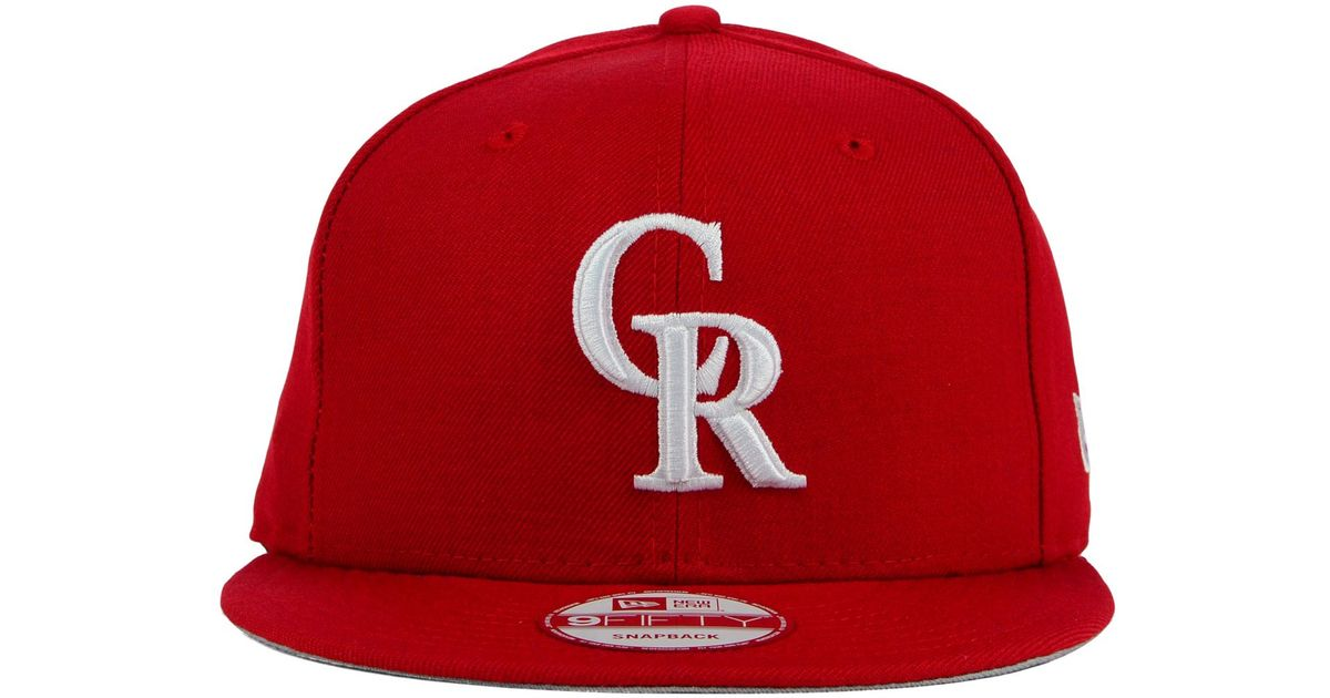 low priced d9170 c471a Lyst - KTZ Colorado Rockies C-dub 9fifty Snapback Cap in Red for Men