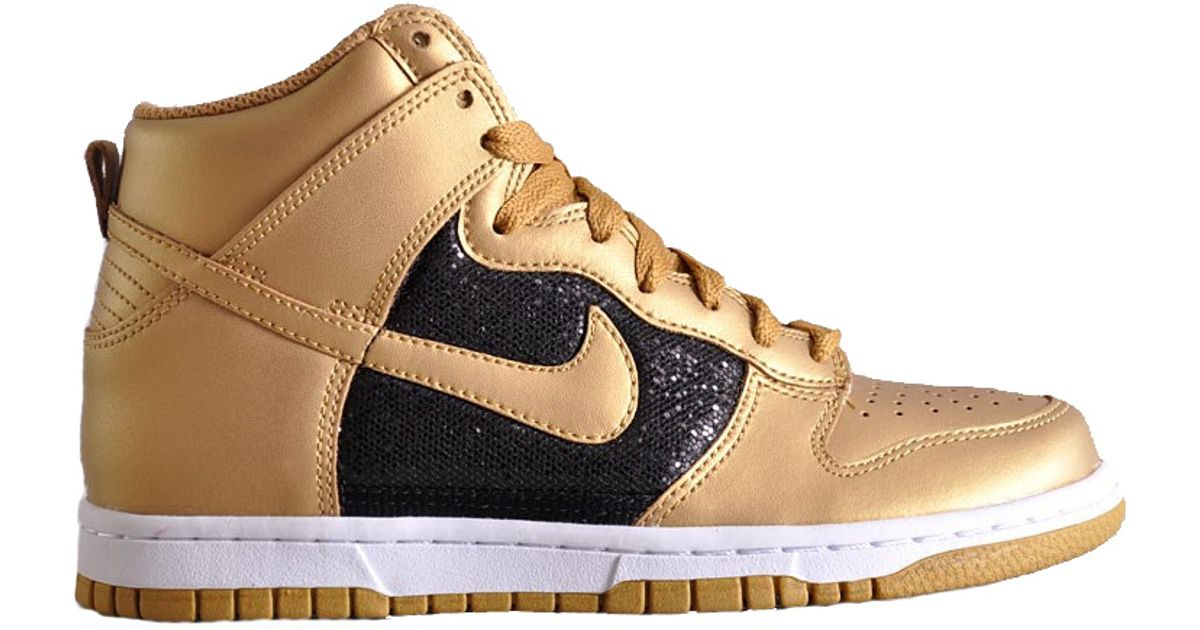 Lyst - Nike Wmns Dunk High Black Gold Glitter in Metallic ae3218b79