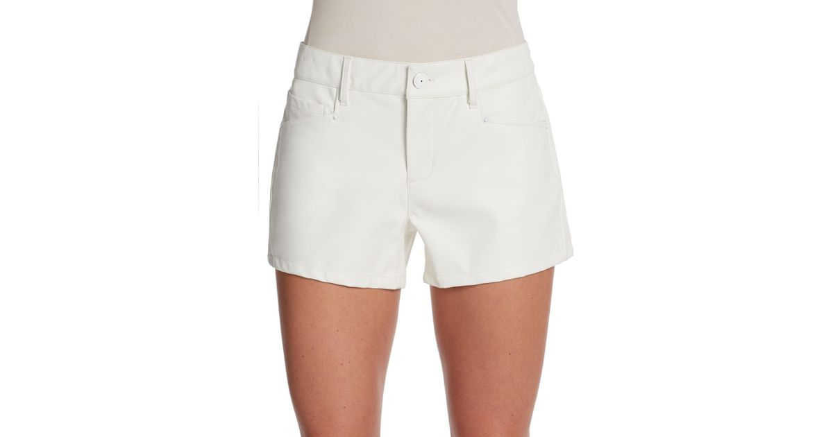 Bcbgeneration Faux Leather Shorts in White | Lyst