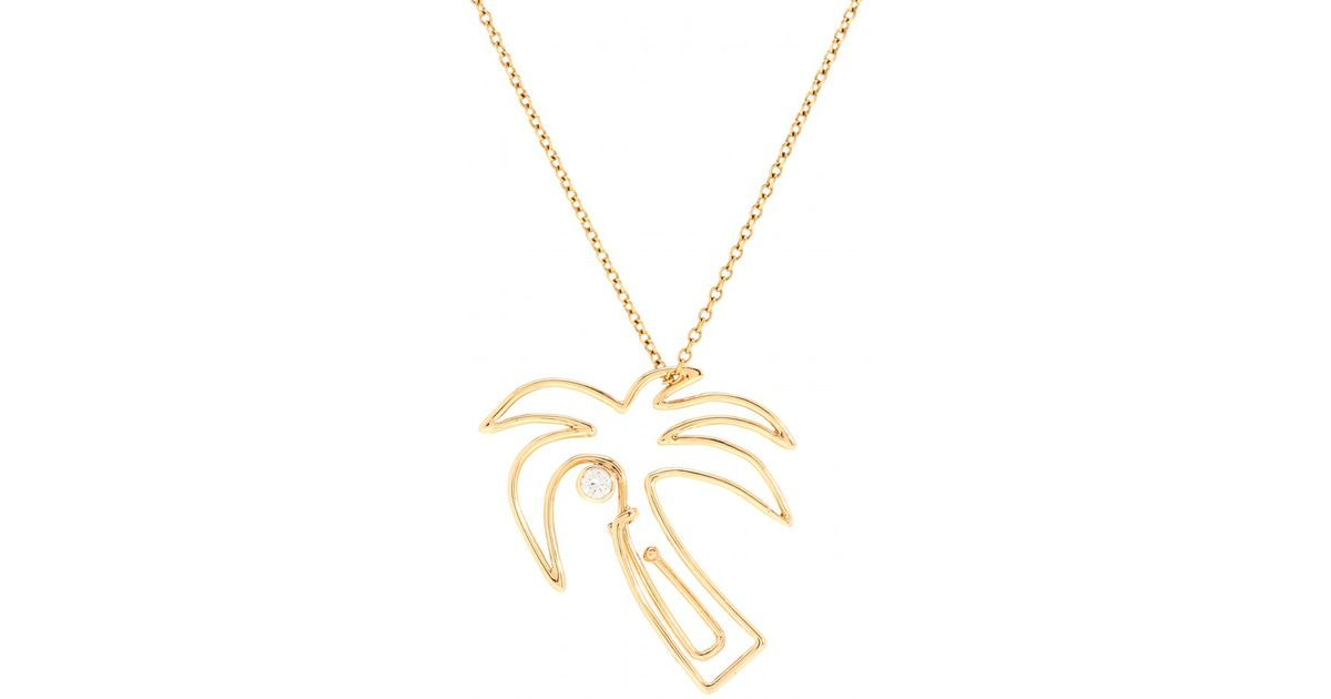 Lyst hillier mytheresa exclusive palm tree paper clip 14kt lyst hillier mytheresa exclusive palm tree paper clip 14kt yellow gold necklace with white diamond in white aloadofball Image collections