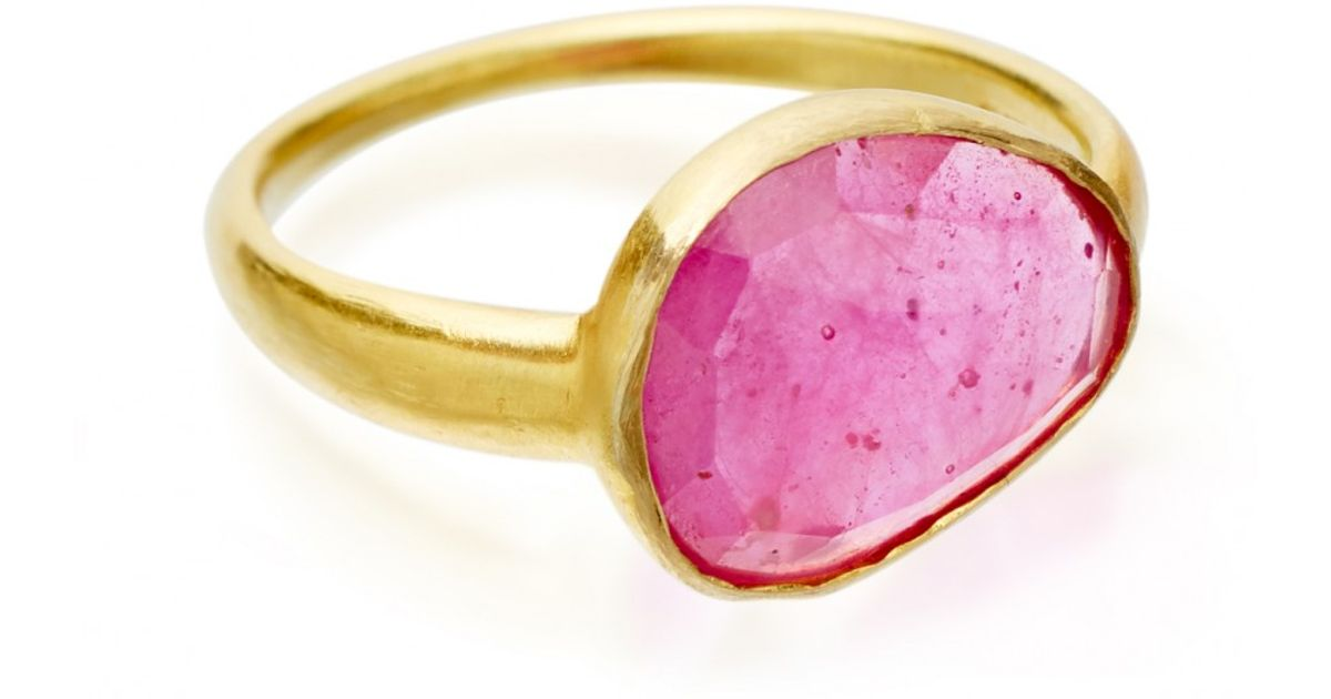 Lyst Pippa Small Ruby Greek Ring in Pink