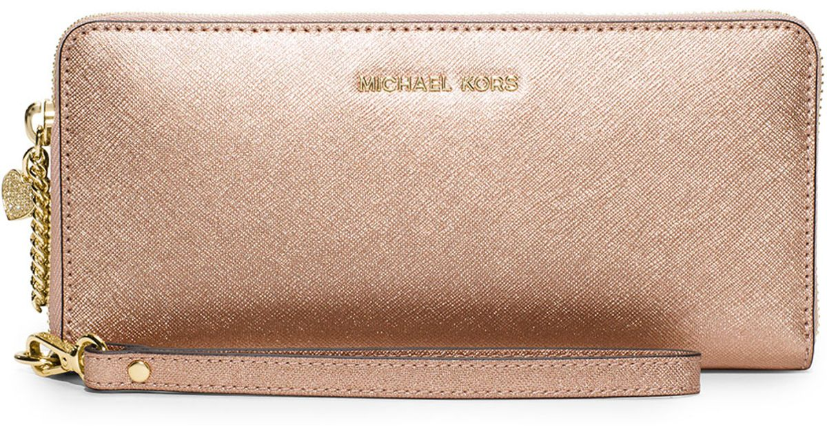 ed74d1643700 MICHAEL Michael Kors Alex Travel Continental Wallet in Metallic - Lyst
