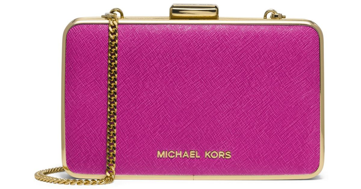 70964324d8ec ... Lyst - Michael Kors Elsie Saffiano Leather Box Clutch in Pur ...