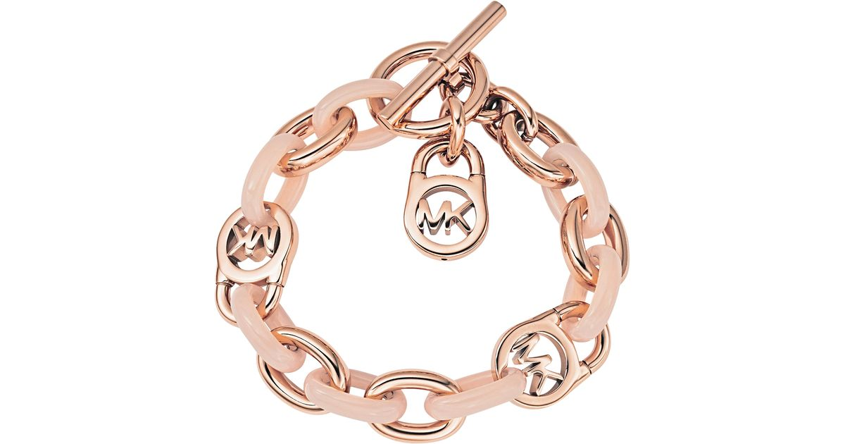 Lyst Michael Kors Heritage Rose Gold Tone And Blush Chain Bracelet In Pink