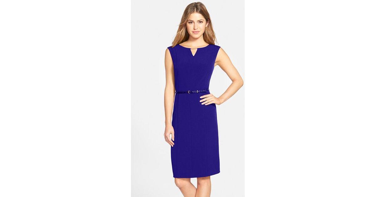 Ellen tracy Belted Techno Stretch Sheath Dress in Blue | Lyst