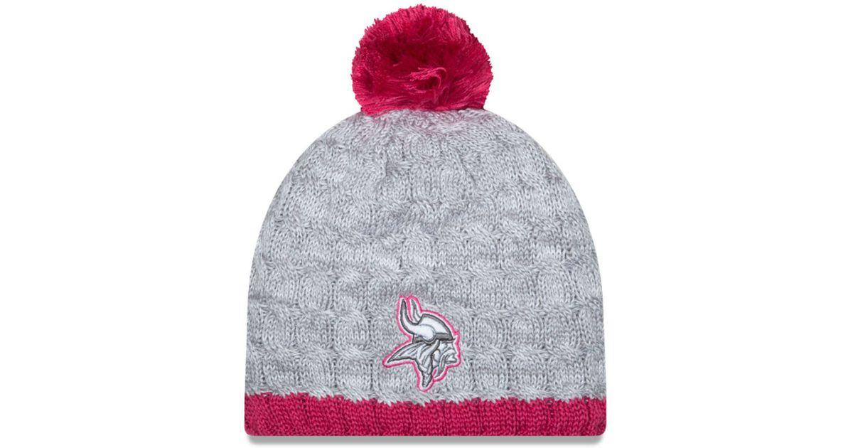 767bf6cdac3 Lyst - KTZ Women s Minnesota Vikings Breast Cancer Awareness Knit Hat in  Gray