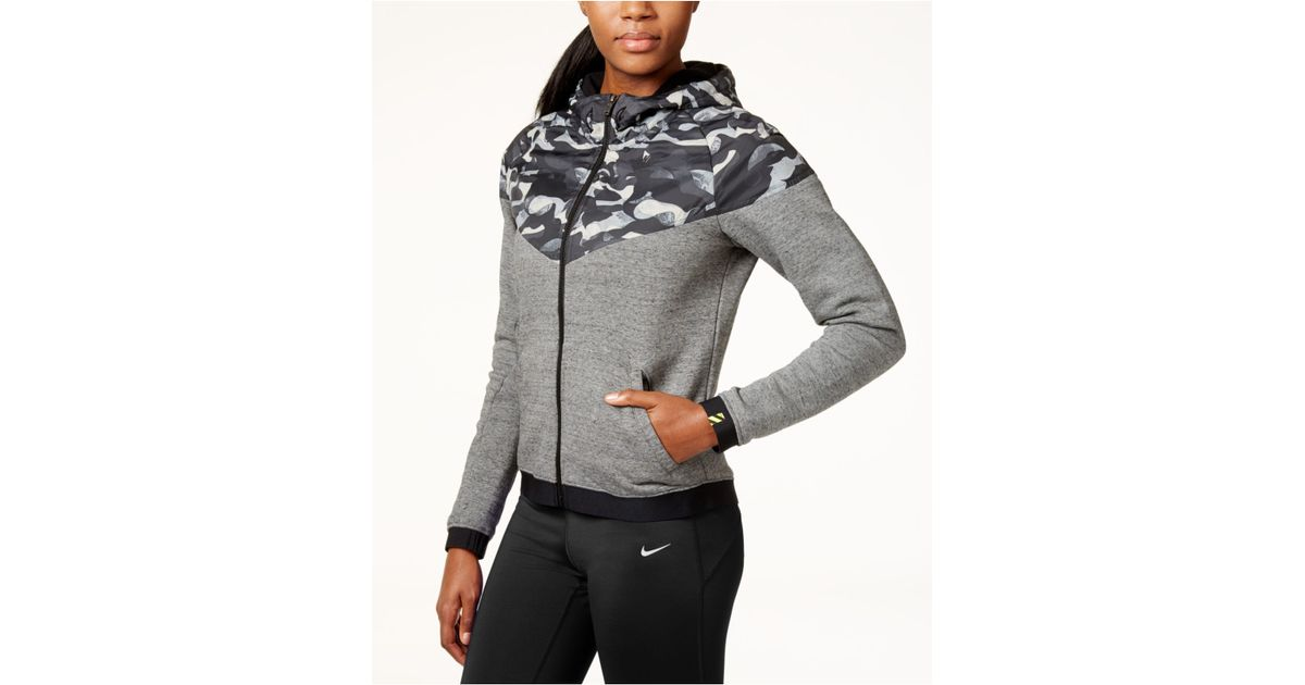 nike camouflage overlay windrunner hoodie in gray lyst. Black Bedroom Furniture Sets. Home Design Ideas