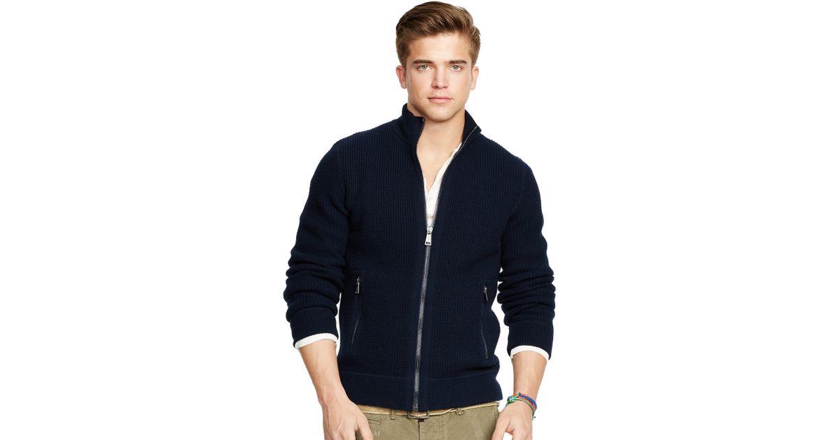 Ralph Lauren Men Cardigan V-neck Mesh Darkblue Sweaters