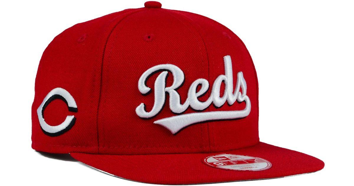 66c5dfcccf8 ... order lyst ktz cincinnati reds xl script 9fifty snapback cap in red for  men 8a9e4 c1259