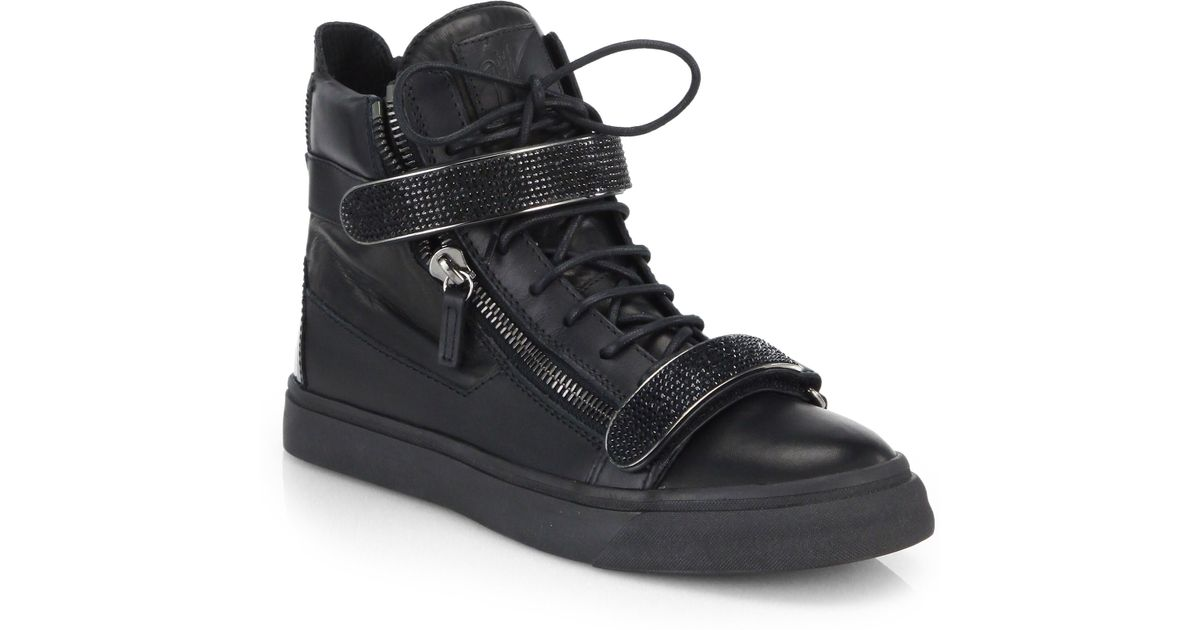 36cde21a0bec5 Giuseppe Zanotti Swarovski Double-bar High-top Sneakers in Black for Men -  Lyst