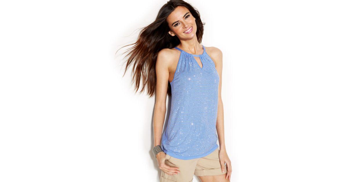 7f3c89867700e Lyst - INC International Concepts Embellished Halter Top in Blue