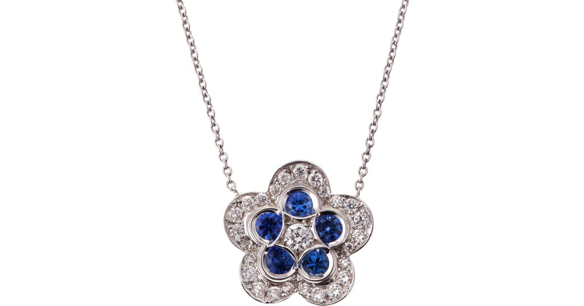 Lyst roberto coin diamond and blue sapphire flower pendant lyst roberto coin diamond and blue sapphire flower pendant necklace in blue aloadofball Image collections