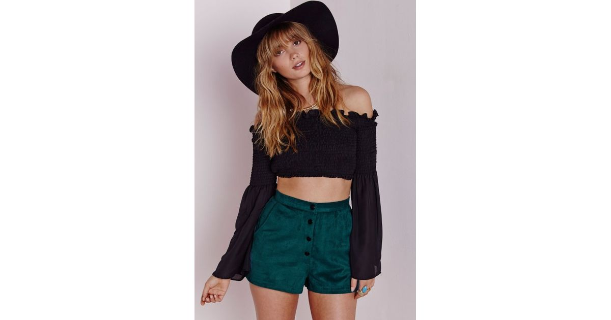 Missguided High Waisted Faux Suede Shorts Teal in Blue | Lyst