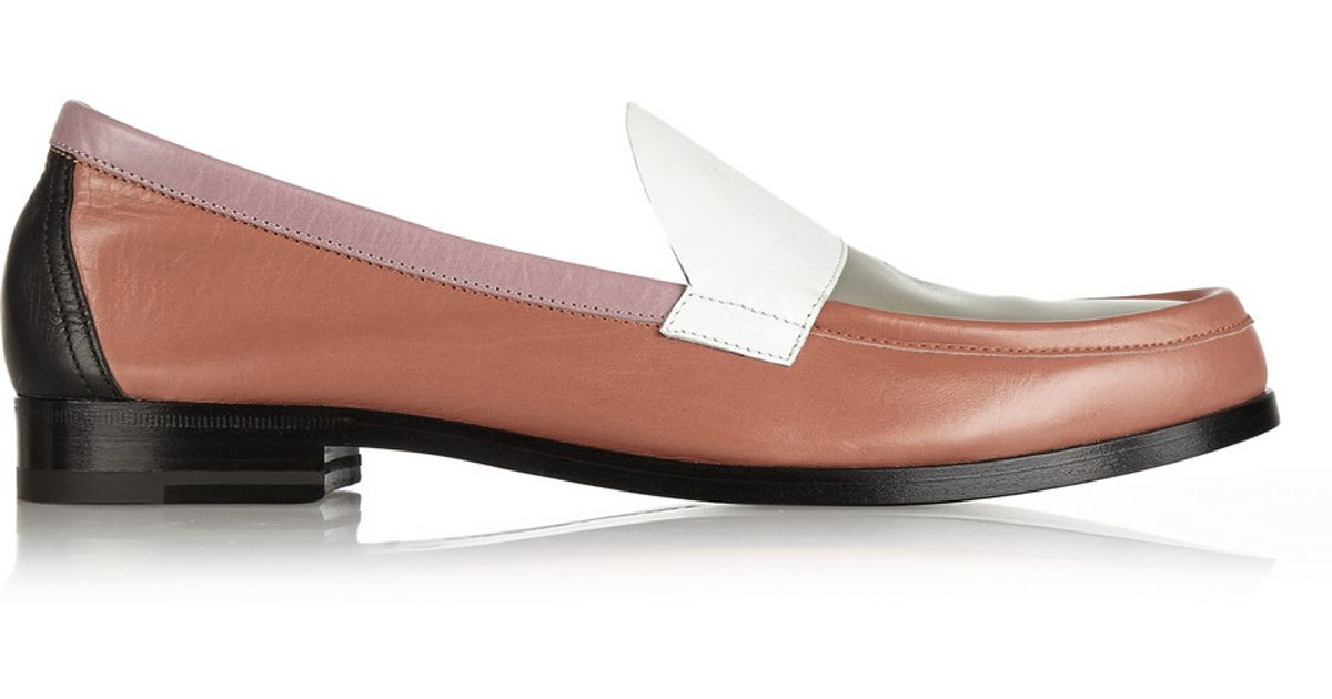 5b655d12014 Lyst - Pierre Hardy Color-Block Leather Loafers in Orange
