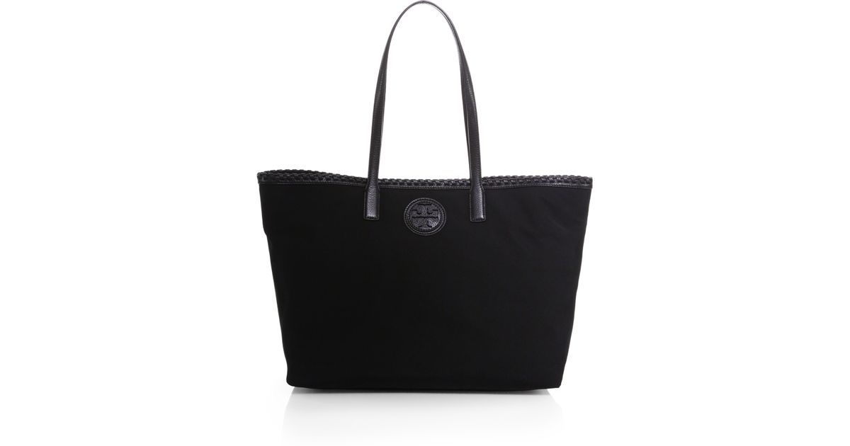 6d97828bcf8 Lyst - Tory Burch Marion East-West Nylon Tote in Black