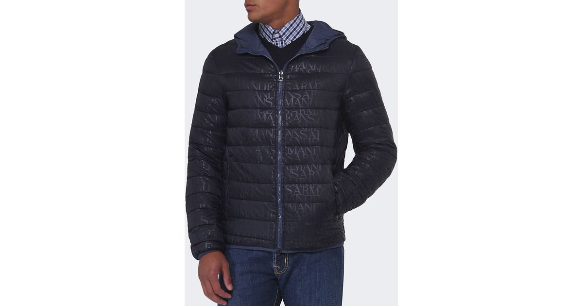preview of quite nice top fashion Armani Jeans Blue Reversible Quilted Blouson Jacket for men