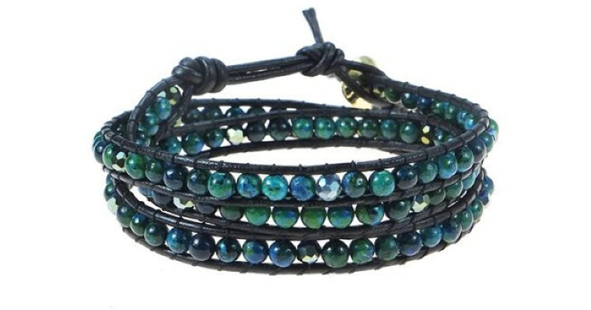 f2a0118011f3 Lyst - Aeravida Green Forest Malachite Stones Triple Wrap Leather Bracelet  in Blue