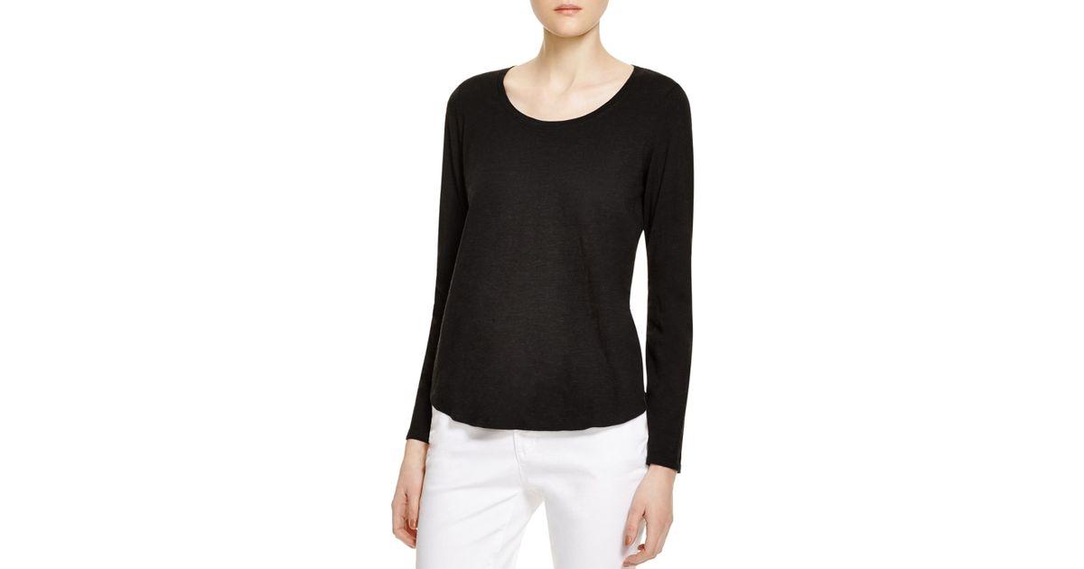 Eileen fisher organic cotton scoop neck tee in black lyst for Eileen fisher organic cotton t shirt