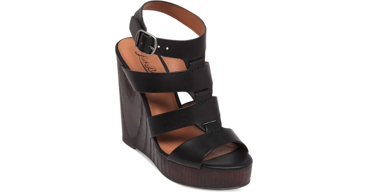 4ccb7dc66a Lucky Brand Women's Roselyn Platform Wedge Sandals in Black - Lyst
