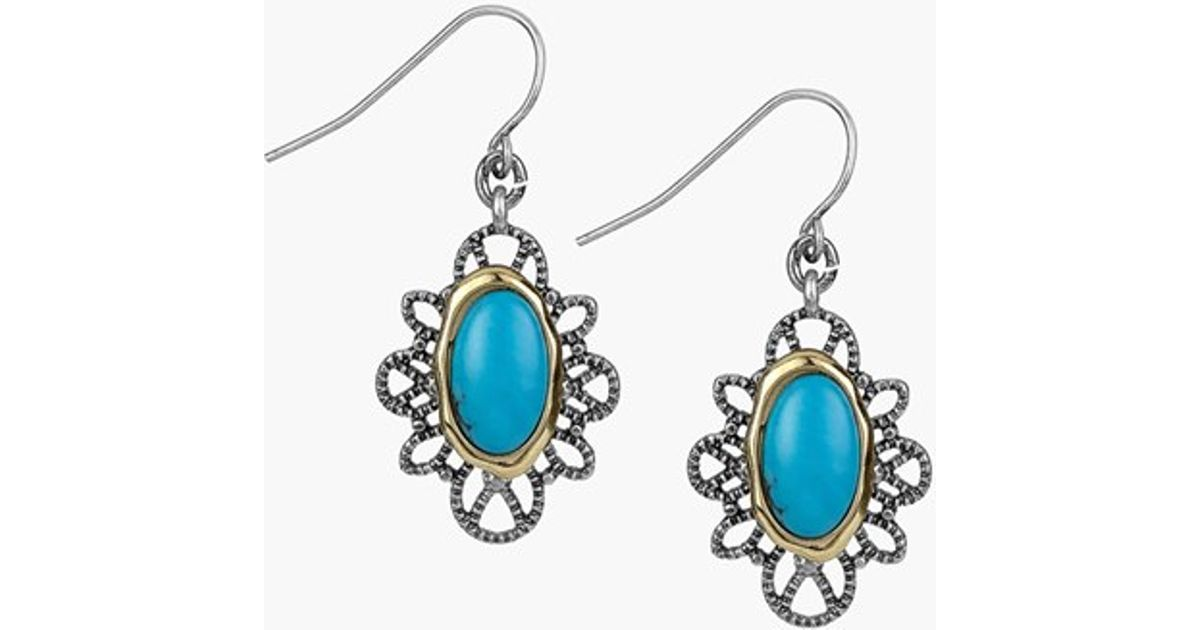 Panacea Textile Drop Earrings, Turquoise-Color