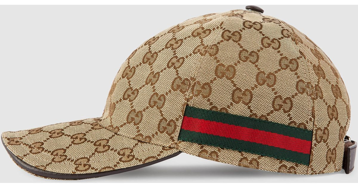 Gucci Original Gg Canvas Baseball Hat With Web In Natural