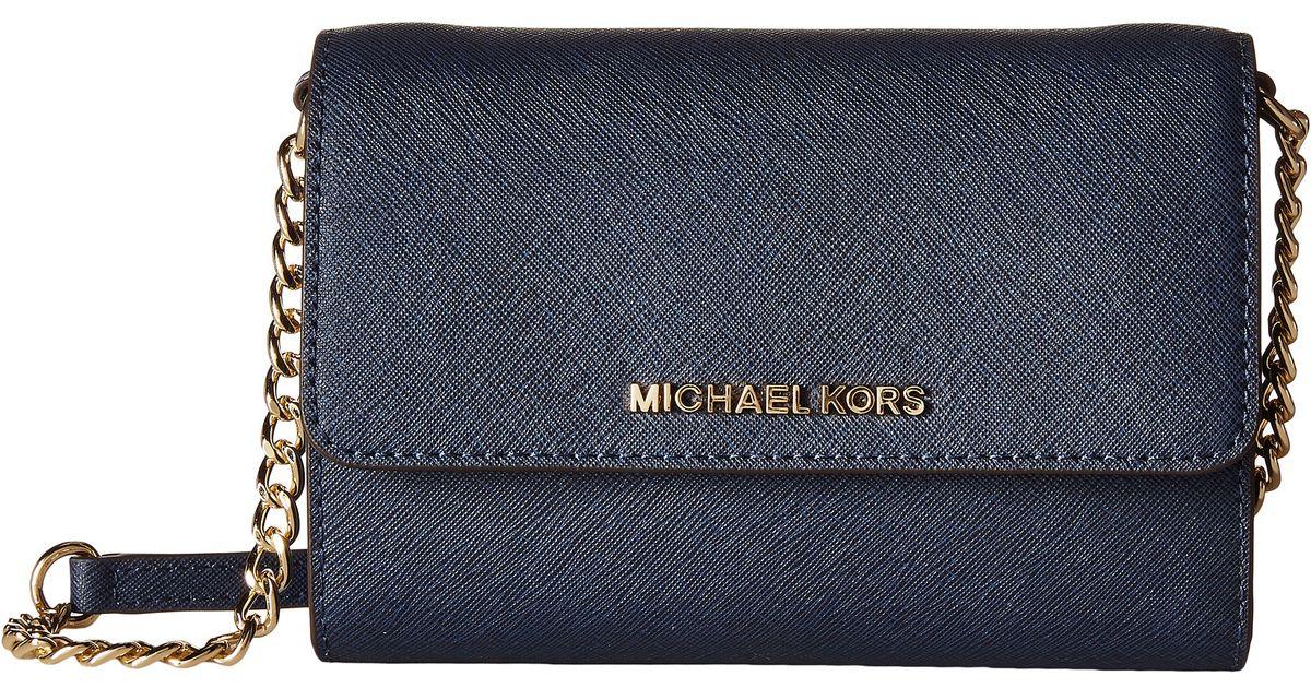 08d73dea0c67 MICHAEL Michael Kors Jet Set Travel Large Phone Crossbody in Blue - Lyst