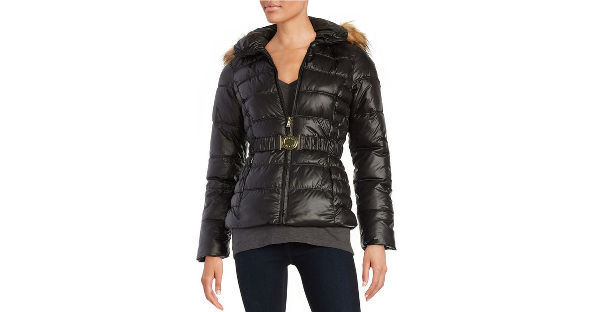 Guess Faux Fur Trimmed Puffer Coat In Black Save 70 Lyst