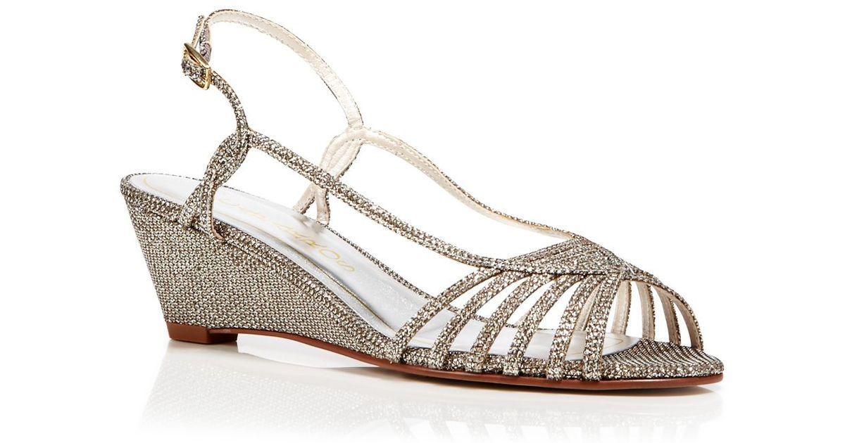 Lyst - Caparros Open Toe Wedge Evening Sandals - Tango in Metallic