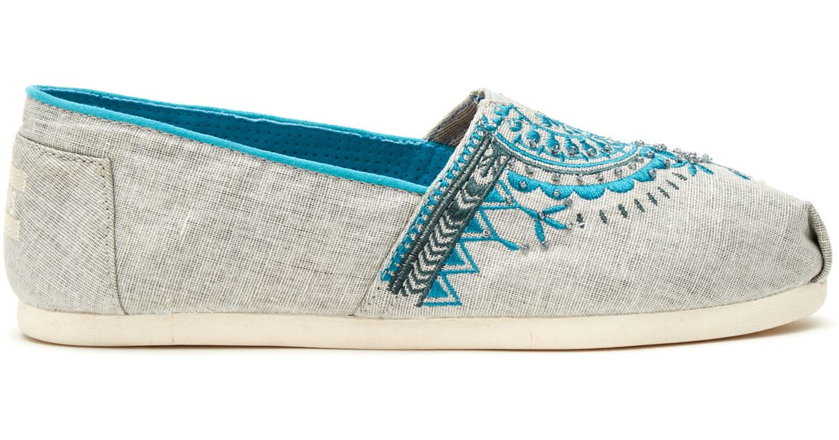 Toms light grey canvas beaded embroidery women s classics