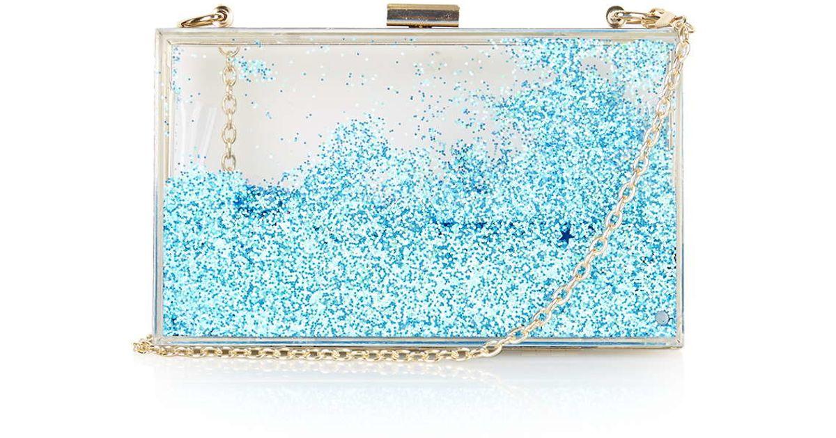 TOPSHOP Blue Glitter Clutch Bag By Skinnydip in Blue - Lyst f4660fe69c519