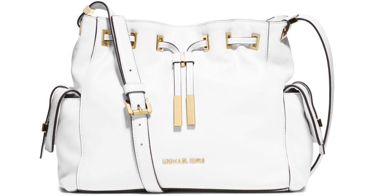 043847756746 Lyst - Michael Kors Marly Medium Drawstring Leather Messenger in White