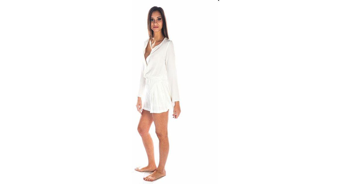 9929e88e6991 Lyst - Addison Silk Vegan Leather Romper in White