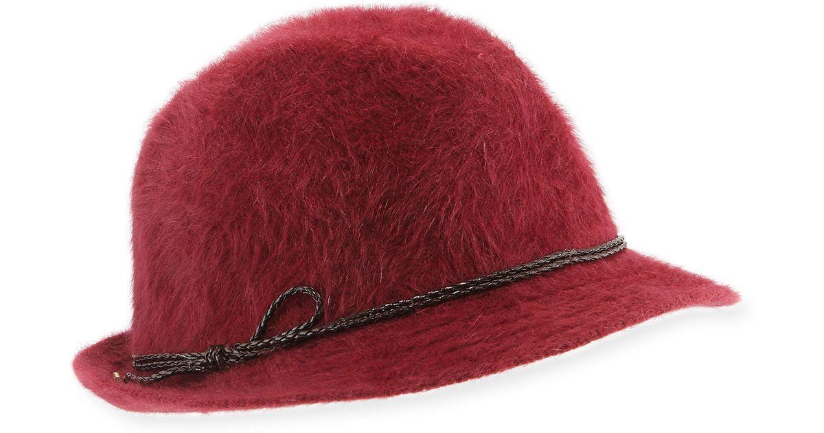 9dd29f29523 Lyst - Hat Attack Angora-blend Fedora Hat in Red
