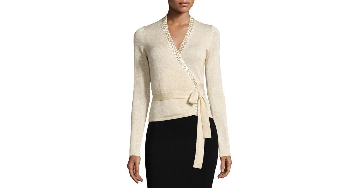 Diane von furstenberg Ballerina Shimmer Wrap Sweater in White | Lyst
