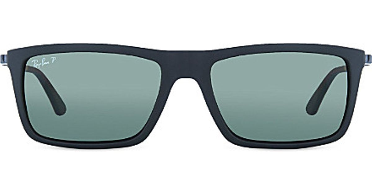 b02918b9ce ... cheapest lyst ray ban rb4214 matte black rectangle sunglasses in blue  for men 1fded 88ba9