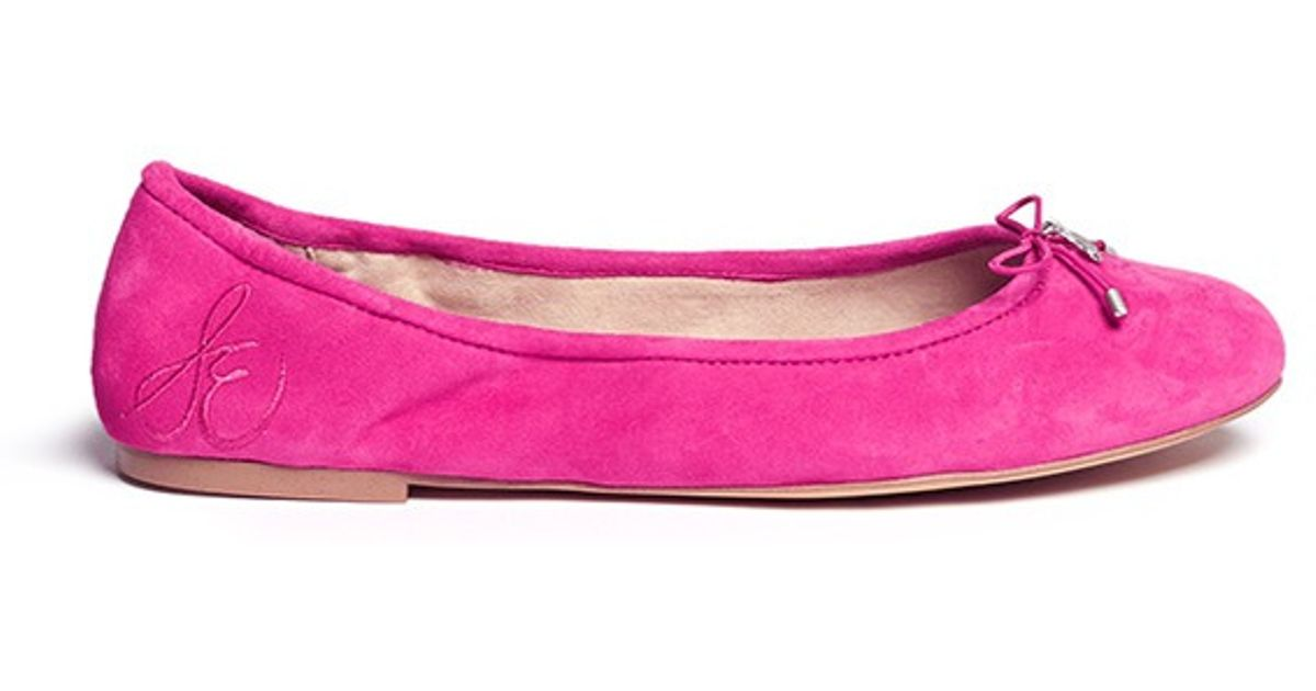 fcafef70c Sam Edelman  felicia  Suede Ballerina Flats in Pink - Lyst