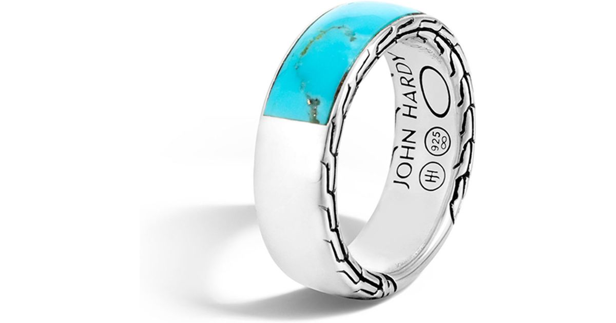 Lyst - John Hardy Men s Classic Chain Silver Band Ring With Turquoise in  Blue for Men c2b6d98988