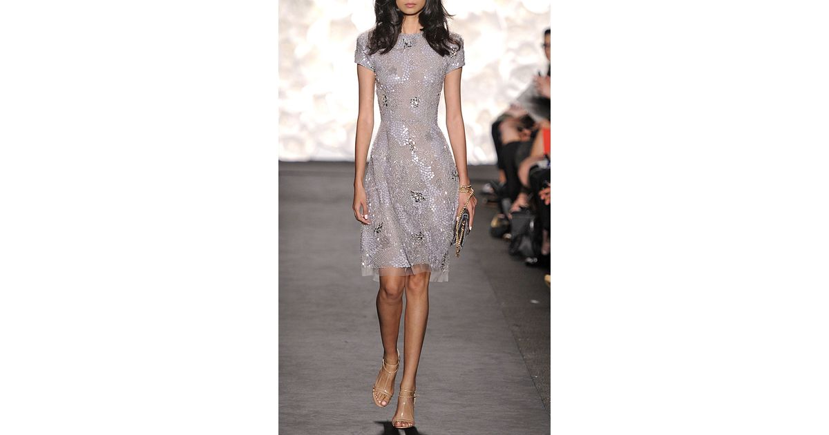 b201318740 Lyst - Naeem Khan Sequin Dress in Gray
