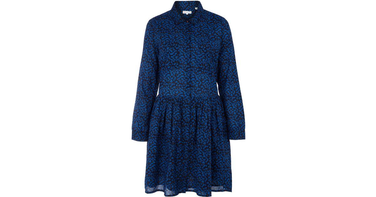 Navy blue cotton shirt dress
