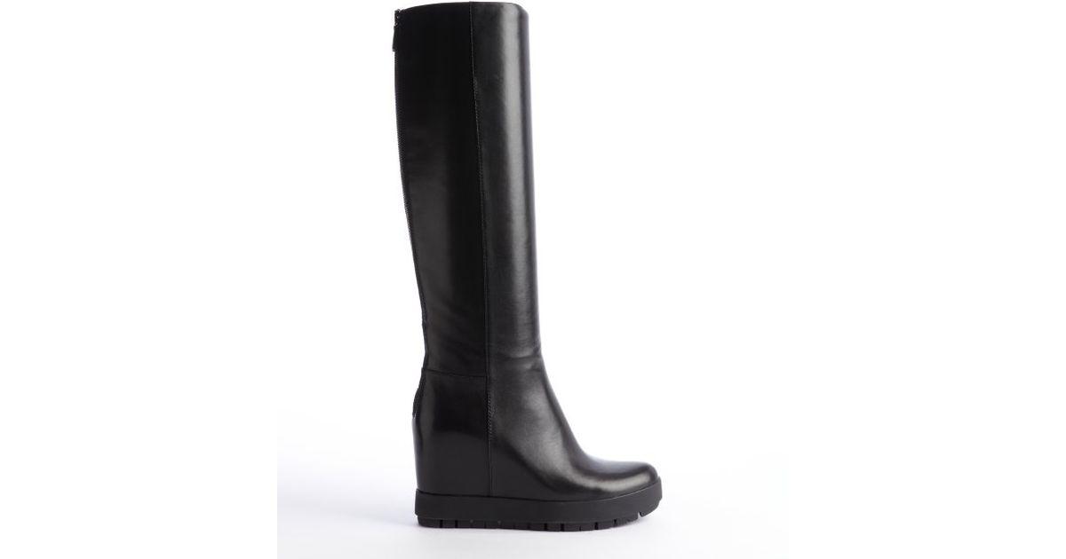Prada Leather Hidden Wedge Heel Boots in Black   Lyst
