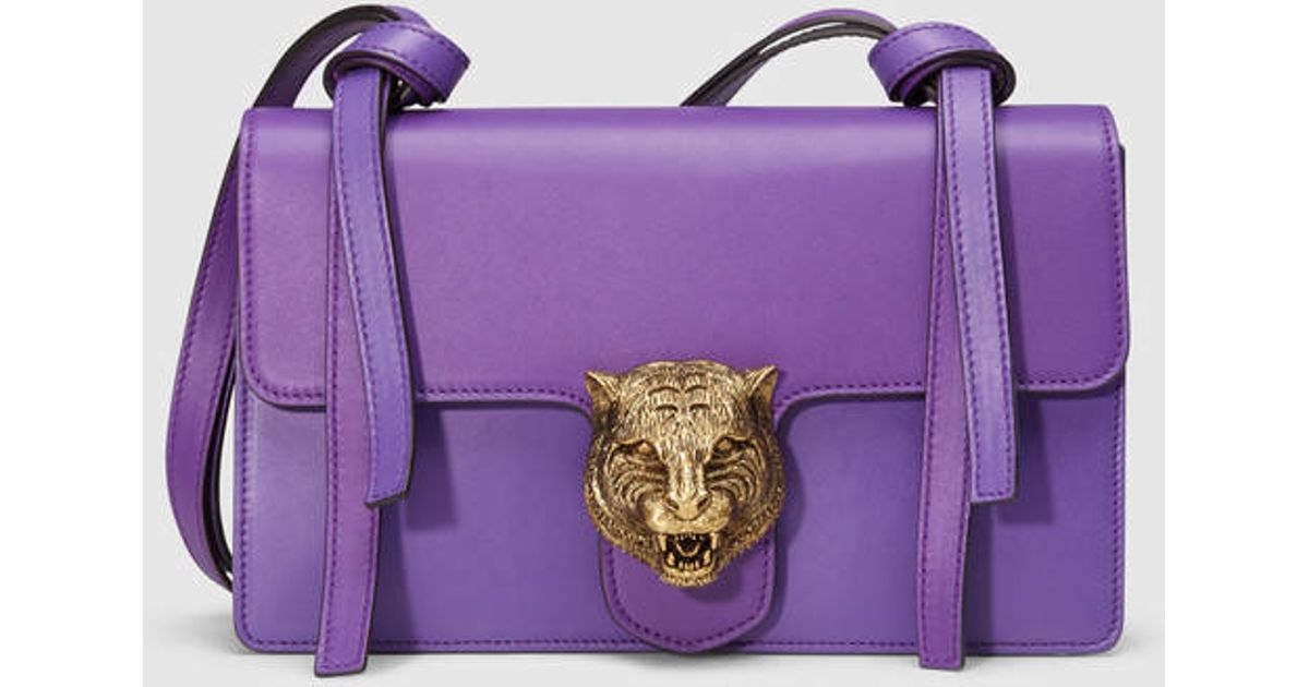 Gucci Animalier Leather Shoulder Bag in Purple | Lyst