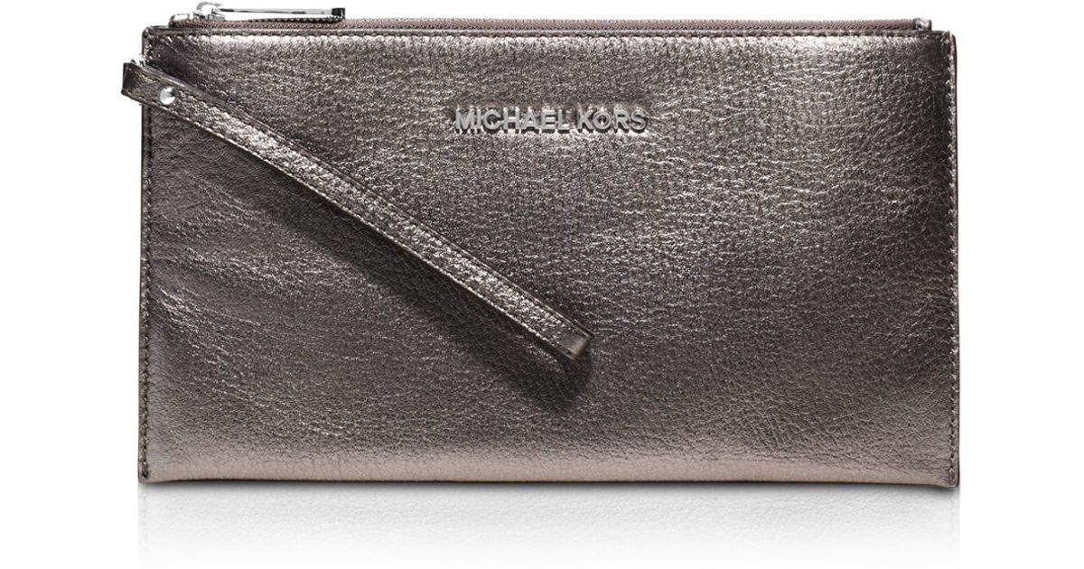 2064ef933d6f Lyst - MICHAEL Michael Kors Bedford Large Metallic Zip Wristlet in Metallic
