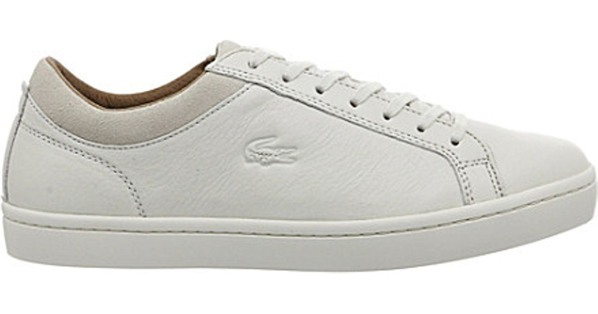 9335a582d Lacoste Straightset Leather Trainers in White for Men - Lyst