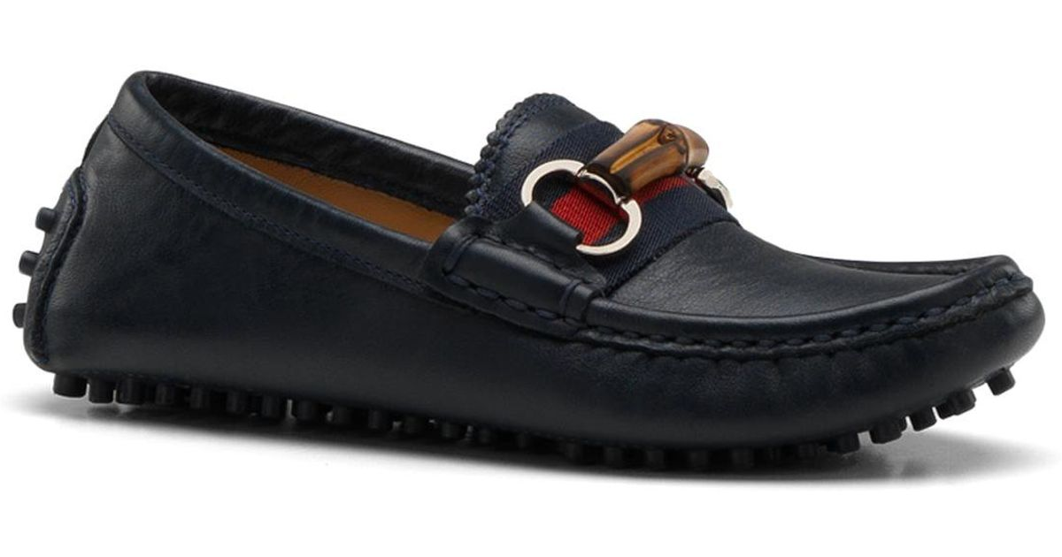 94e8824f2367 Lyst - Gucci Kids Leather Driver Loafers in Blue for Men