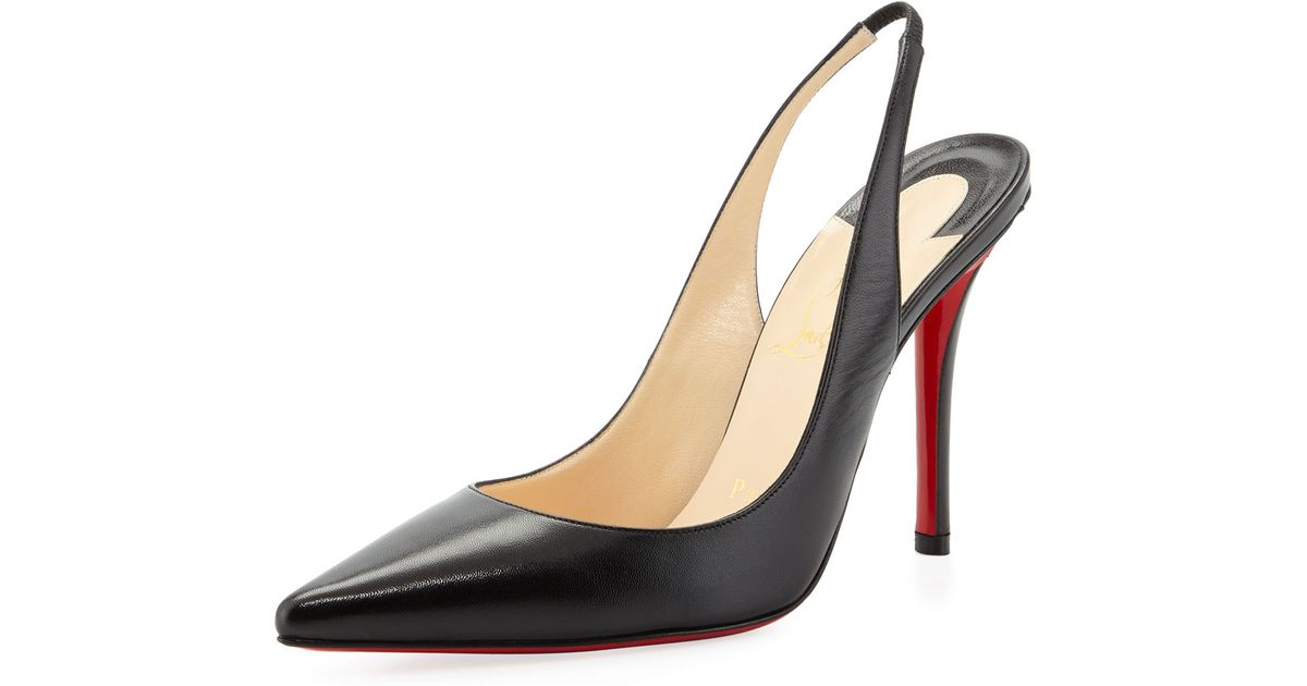 Lyst - Christian Louboutin Apostrophe Red-sole Slingback Pump in Black 3ffd1acb6