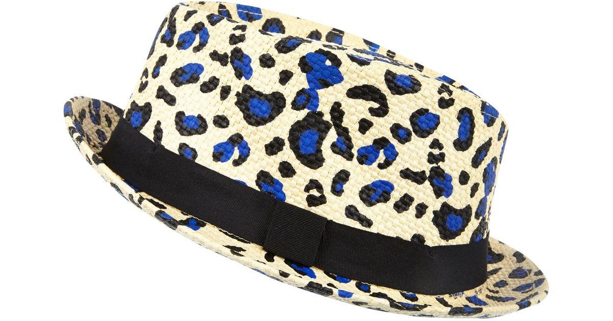 River Island Ecru Leopard Print Straw Trilby Hat - Lyst bd17175b4f7