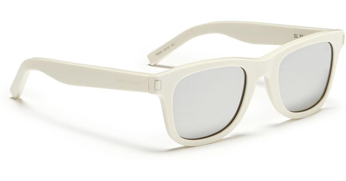 22a42c25426df Saint Laurent  sl 51  Square Frame Mirror Sunglasses in White for Men - Lyst