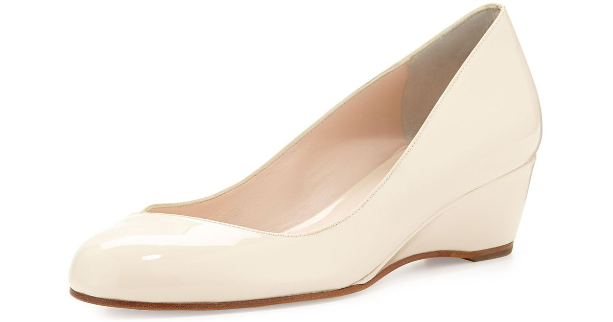 Lyst Delman Doll Patent Leather Wedge In Natural