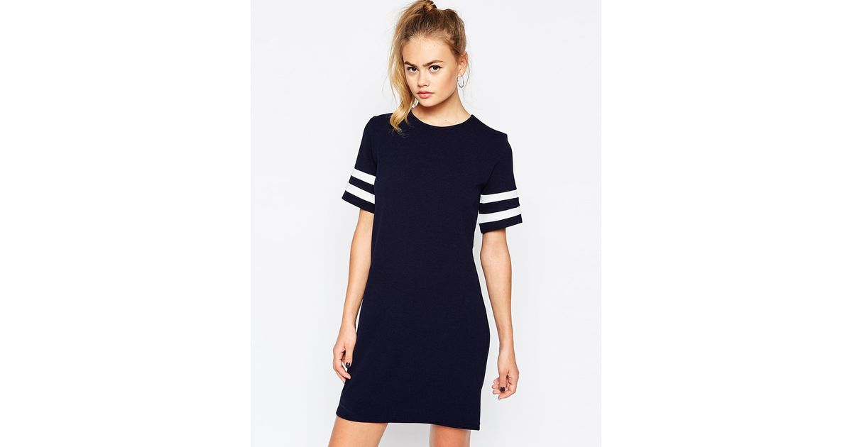 4f26c404dc Daisy Street Shift Dress With Contrast Stripe Sleeve in Blue - Lyst