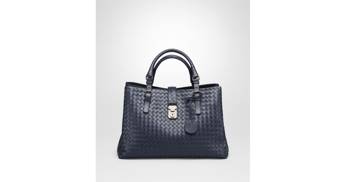Bottega Veneta Prusse Intrecciato Light Calf Roma Bag in Blue - Lyst c4873c6c695a6